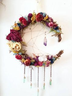 Your place to buy and sell all things handmade - Jenna - Your place to buy and sell all things handmade Witches Garden magical crystal and dried flower crescent moon dreamcatcher wreath, sacred space alter adornment spiritual space pagan decor - Diy And Crafts, Arts And Crafts, Decor Crafts, Moon Dreamcatcher, Dreamcatchers, Pagan Decor, Spiritual Decor, Diy Crafts For Boyfriend, Moon Crafts