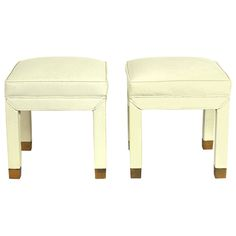 Pair of Clean-Lined Upholstered Stools with Brass Feet | See more antique and modern Stools at http://www.1stdibs.com/furniture/seating/stools ivory ostrich leather