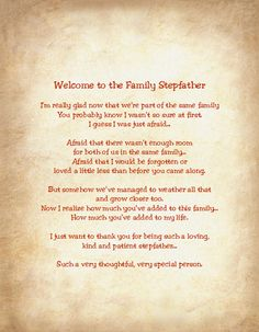 Welcome to the Family Stepfather Sentimental Print Perfect for Framing Dad, Papa, Father by MahoneyLane on Etsy