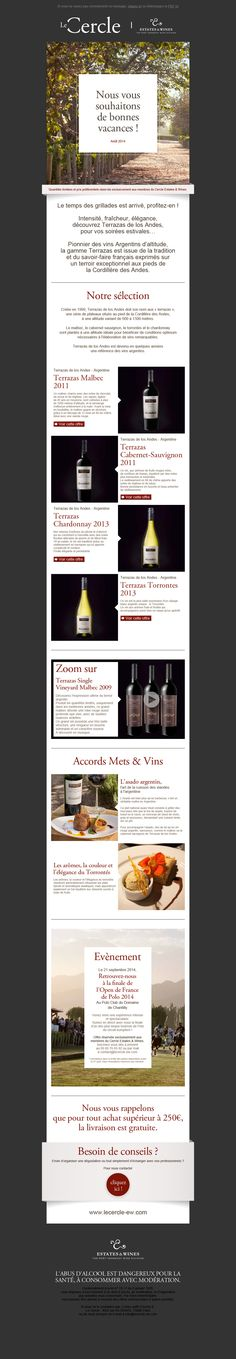 Le Cercle - Estate & Wines newsletter de août 2014 Création FAT4