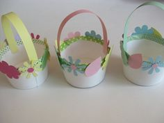 8 Steps to Making Mini Easter Baskets: Glue the paper flowers onto your Easter baskets.