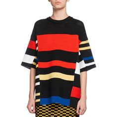 Proenza Schouler Variegated-Stripe Half-Sleeve Tunic ($2,350) ❤ liked on Polyvore featuring tops, tunics, multi, crochet top, crochet pullover, crewneck pullover, proenza schouler top and crochet tunic
