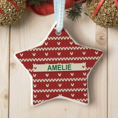 Personalised Red Knitted Jumper Star Ceramic Decoration