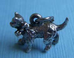 Vintage Beau Cat with Bow Sterling Charm | eBay