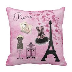 Chic Girly Pink Paris Fashion Throw Pillow Paris Room Decor, Paris Bedroom, Paris Theme, Pink Paris, Shabby Chic Theme, Shabby Chic Bedrooms, Tips And Tricks, Makeup Tricks, Paris Mode