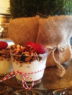 greek yogurt with homemade granola & fresh raspberries-perfect starter at our Christmas Brunch