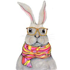 Hipster bunny watercolor, bunny wearing glasses painting, serious... ❤ liked on Polyvore featuring home, home decor, wall art, animal paintings, vertical wall art, face painting, watercolour painting and bunny face painting