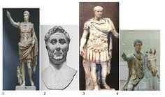 სურათზე გამოსახულია ოთხი რომაელი მოღვაწე. რომელი ნომრით არის აღნიშნული გნეუს პომპეუსი?