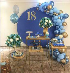 16 Birthday Cake, Purple Birthday, 18th Birthday Party, Butterfly Birthday, Birthday Balloons, Happy Birthday, Birthday Decorations At Home, Balloon Decorations, Blue Party