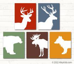 Woodland Nursery Art, Fox, Deer, Bear, Moose, Elk
