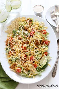Flavorful chicken enchilada salad with creamy homemade Caesar dressing recipe from @bakedbyrachel