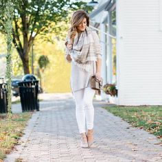 brighton the day styling, white after labor day, white jeans, plaid scarf