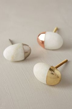 Beautiful knobs for a lovely furniture update. It reminds me white stones on beaches deepen in the golden sun :) Stonecutter Knob #anthrofave #anthropologie