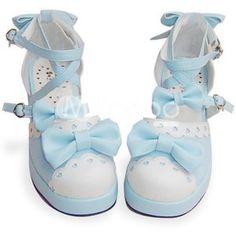 Blue And White Flat Bow PU Lolita Shoes-Lolita Shoes-Lolita Footwear - Lolita Clothing - Milanoo.com