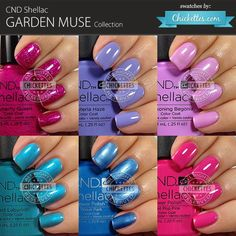 """This is the Garden Muse Collection from CND Shellac, consisting of six """"intense floral hues"""" for Spring. Similar shades are also available in CND Vinylux weekly polish. Four of the colo…"""