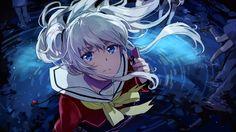 Anime 1920x1080 anime girls anime Tomori Nao artwork Charlotte (anime) blue eyes white hair school uniform