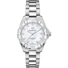 Tag Heuer Women's Swiss Aquaracer Diamond (1/10 ct. t.w.) Stainless... (€1.755) ❤ liked on Polyvore featuring jewelry, no color, stainless steel jewellery, diamond jewelry, tag heuer, diamond jewellery and stainless steel jewelry