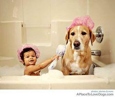 Bubble bath buddies! Wet dog #water #wet #dog lol haha silly crazy pet puppy pup animal love bath baby