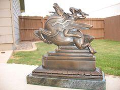 art deco sculpture | Handmade Speed...Art Deco Pegasus With Amazon Sculpture by Streamline ...