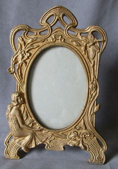 c1900 Art Nouveau Picture Frame with Lady & by Neatcurios on Etsy