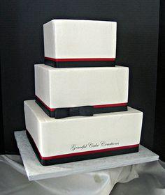 Elegant Square White, Black and Red Wedding Cake
