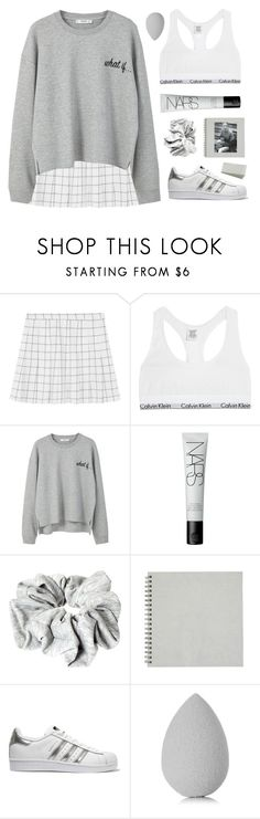 """""""get the look: comfy pullover"""" by amazing-abby ❤ liked on Polyvore featuring Calvin Klein Underwear, MANGO, NARS Cosmetics, ASOS, adidas Originals and beautyblender"""