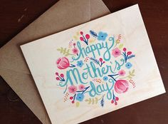 Wood Mothers Day Card - Painted Floral Design. New Wood cards at Ninj & Ninj!