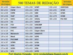 Veredas da Língua: PROGRAMA – 500 TEMAS DE REDAÇÃO