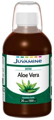 Jugo de aloe vera Juvamine, hecho a base de extracto en Francia, en botellas de 500ml de plástico, vegano y sin gluten, libre de aloina, con edulcorantes y aromas artificiales. Es necesario diluirlo.