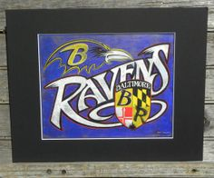 Baltimore Ravens Print & MAT wallhanging by ZekesAntiqueSigns