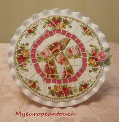 Pedestal Mosaic Cake Plate Handmade Mosaic Cake Plate Royal Albert China Plate Rims Fully functional...