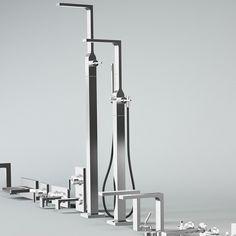 Ritmonio freistehender Wannenfüllmischer Waterblade_J mit Umschalter und Handbrause | Design: Peter Jamieson | verschiedene Oberflächen wählbar