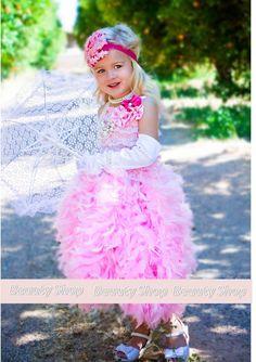 bride flower girl Birthday Surprise Couture Feather by bbabyangel, $79.99