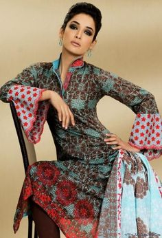 Al Karam Women Lawn Design clothing ~ infoinn Pakistani Casual Wear, Pakistani Outfits, Eid Outfits, Fashion Outfits, Desi Clothes, Asian Clothes, Kaftan Style, Asian Bridal, High Collar