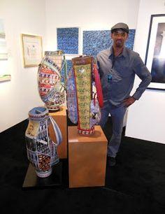 ARMCHAIR GOLF BLOG: Artist Turns Golf Bags Into Works of Art - http://armchairgolfblog.blogspot.com/2012/10/artist-turns-golf-bags-into-work-of-art.html