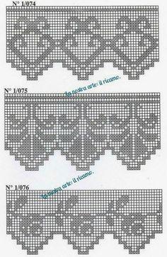 New knitting charts patterns quilts Ideas Crochet Lace Edging, Crochet Motifs, Crochet Borders, Thread Crochet, Crochet Trim, Crochet Doilies, Crochet Patterns, Embroidery Patterns, Hand Embroidery