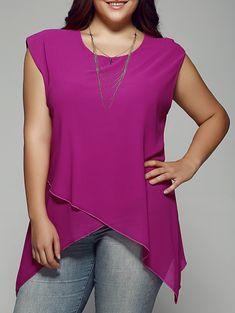 Rosegal / Plus Size Asymmetrical Chiffon Blouse Looks Plus Size, Trendy Plus Size, Plus Size Tops, Plus Size Women, Plus Size Blouses, Plus Size Dresses, Plus Size Outfits, Chiffon, Fashion Seasons