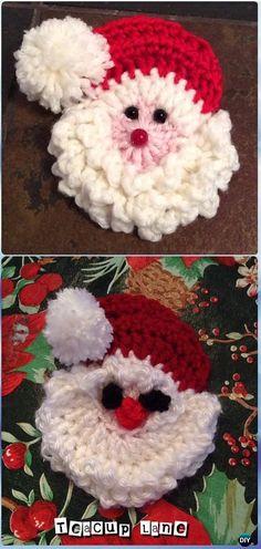 Crochet Santa Badge/Decoration Free Pattern - Crochet Santa Clause Free Patterns