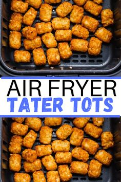 Classic, crispy tater tots come out perfect in the Air Fryer every time! With just one simple ingredient and 20 minutes, you'll be ready to dig right into this nostalgic side dish. #airfryertots #tots #tatertots #airfryertatertots Tater Tot Recipes, Potato Recipes, Vegetable Recipes, Oven Recipes, Air Fryer Recipes, Side Dish Recipes, Dinner Side Dishes, Best Side Dishes, Sweet Potato Tater Tots