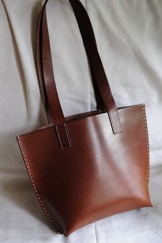 Hand Stitched Brown Leather Tote Bag by ArtemisLeatherware