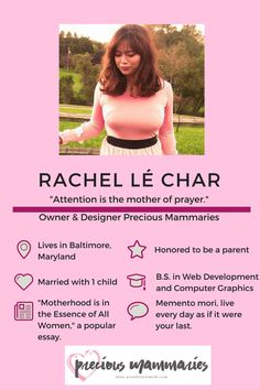Meet Rachel le Char, Owner and Designer of Precious Mammaries at yourbreastmilk.com