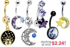 Mystical Belly Rings > Get ready to dance around the moon with these sparkling belly rings!