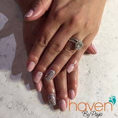 Pink with Rhinestones and glitter. Every girls dream. Nails done at HAVEN in Denver, CO