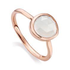 Rose Gold Vermeil Siren Small Ring - Moonstone - Monica Vinader