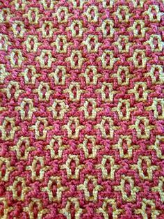 Interlocking crochet afghan back