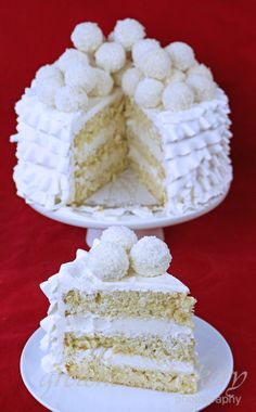 Rafaello Coconut Ruffle Cake - Moist fluffy coconut cake filled with coconut buttercream and piled with Raffaello coconut truffles