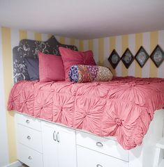 high bed - maybe when the kids outgrow the playroom we could make it a guest room