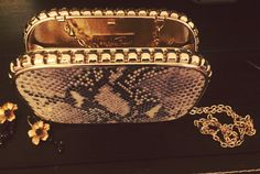 The sample of our clutch.. Snake pattern leather Snake Patterns, Leather