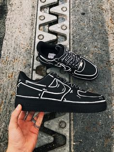 Durable, waterproof and made with premium products! angelus paint, Colour can be altered so please feel free to contact me Cute Nike Shoes, Black Nike Shoes, Nike Air Shoes, Black Nikes, Custom Painted Shoes, Custom Shoes, Custom Sneakers, Custom Af1, Sneaker Outfits