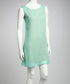Take a look at this Mint Daisy Shift Dress by Point Fashion on #zulily today!
